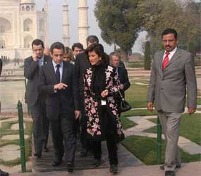 Mr. Nicolas Sarkozy in Taj Mahal with Local Tour Guide